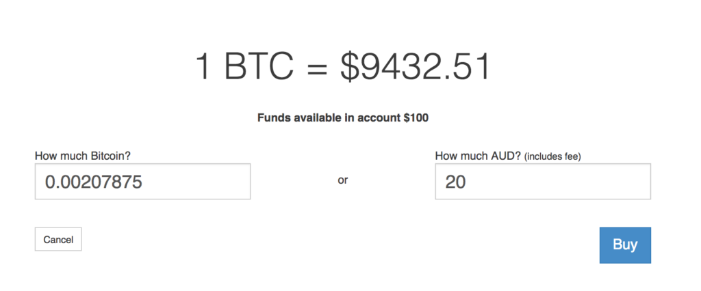 Purchasing Bitcoin using Australian Dollars (AUD).