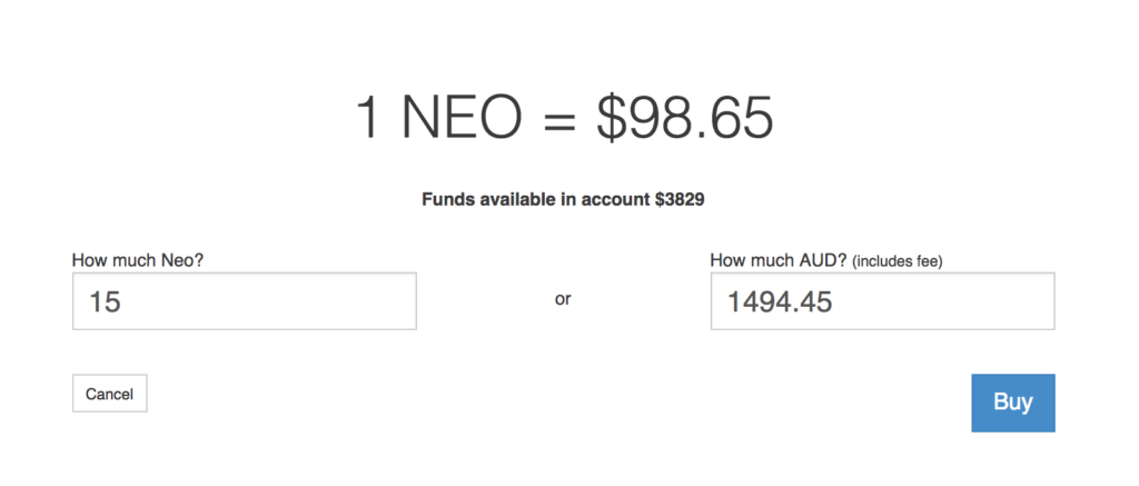 Purchasing NEO with Australian Dollars (AUD).
