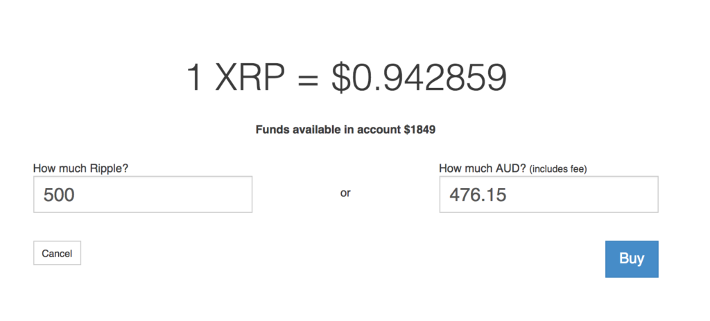 Purchasing Ripple with Australian Dollars (AUD).