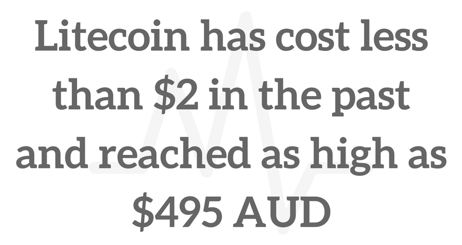 The Litecoin price has been as low as $2 in the past and reached as high as $495 Australian dollars. The price can be highly volatile.