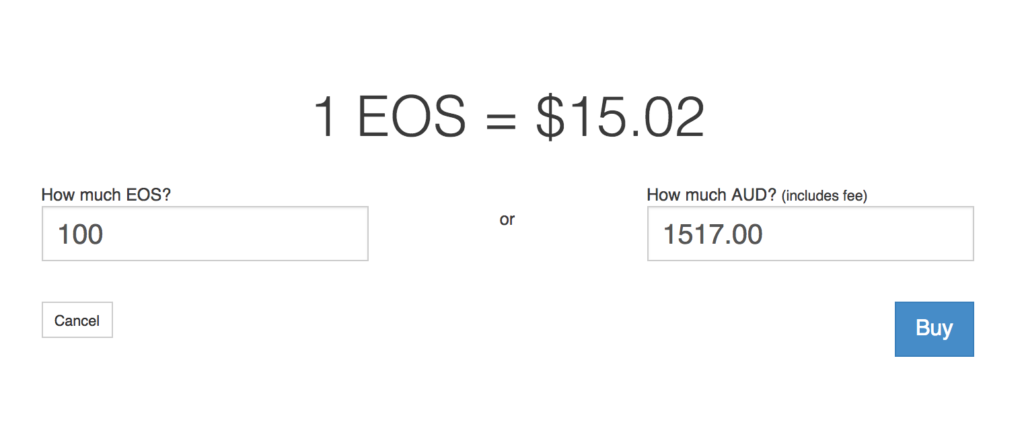 Purchasing EOS with Australian dollars (AUD).